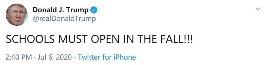"""美国留学签证新政策颁布之后,美国总统特朗普在社交媒体上写道:""""学校秋季必须开放!"""""""