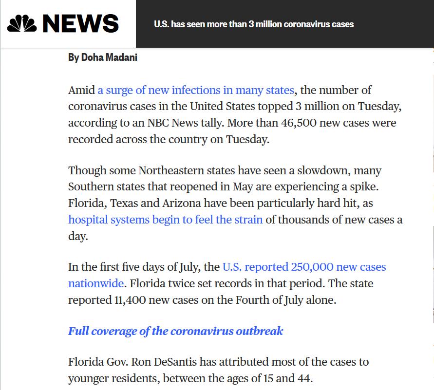 △美国全国广播公司报道:美国新冠肺炎确诊病例超过300万