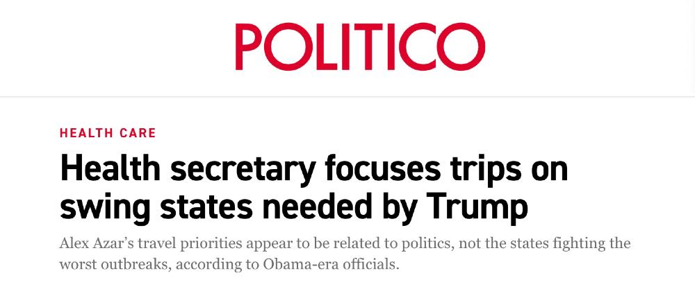 央视起底美卫生部长:不顾疫情 只为政治生涯铺路