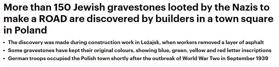 波兰工地挖出上百块犹太人墓碑 二战时曾被拿来铺路