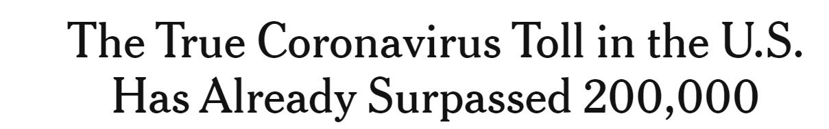△《纽约时报》:美国新冠疫情真实死亡人数已经超过20万人