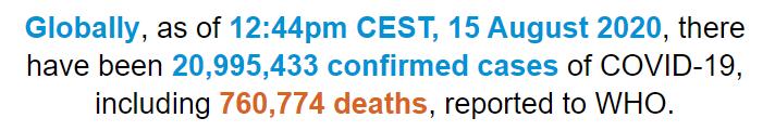 世卫组织:全球新冠肺炎确诊病例超2099万例