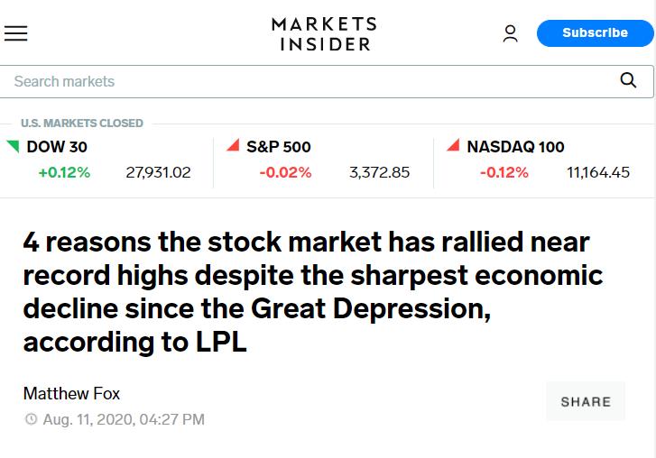△《商业内幕》称,在大萧条以来最剧烈的经济衰退形势下,4个原因让股市反弹至历史高点附近