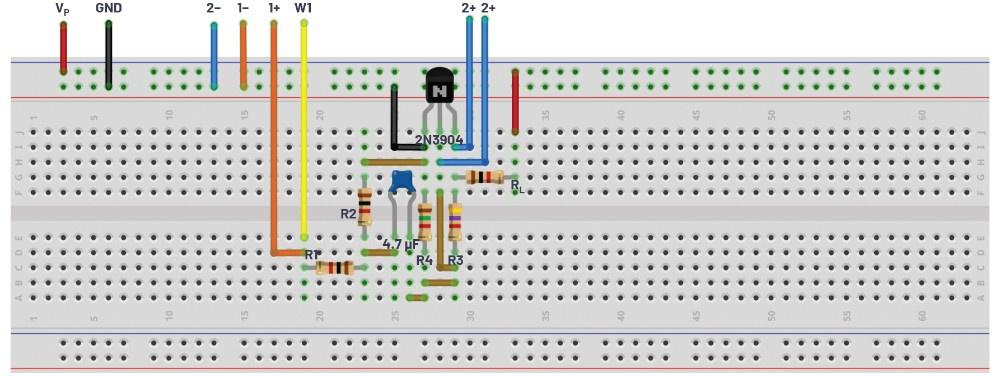 图10.自偏置配置面包板连接。