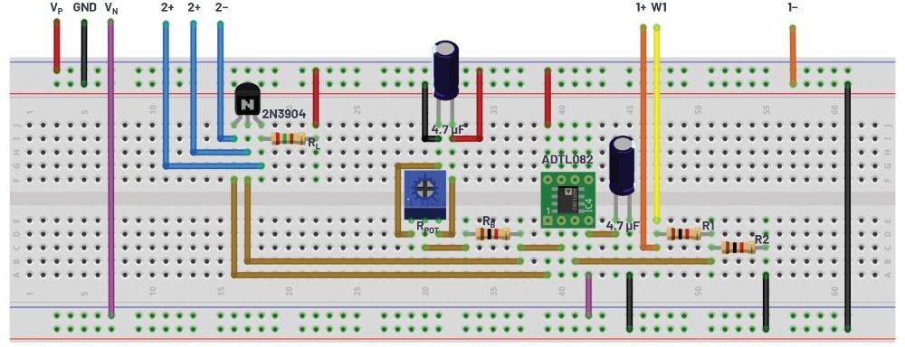 图6.替代方案的共发射极放大器测试配置面包板连接。