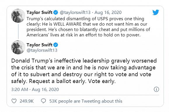 """泰勒-斯威夫特再度发文抨击特朗普:""""无效领导""""使新冠危机更加严重"""