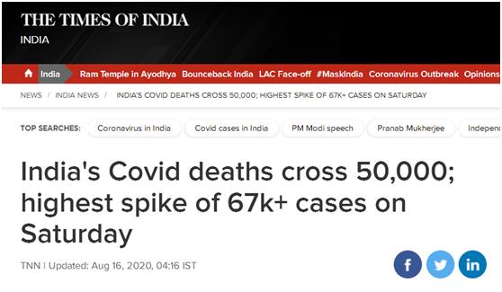 印卫生部自夸:美新冠死亡破5万仅23天 印度用了156天
