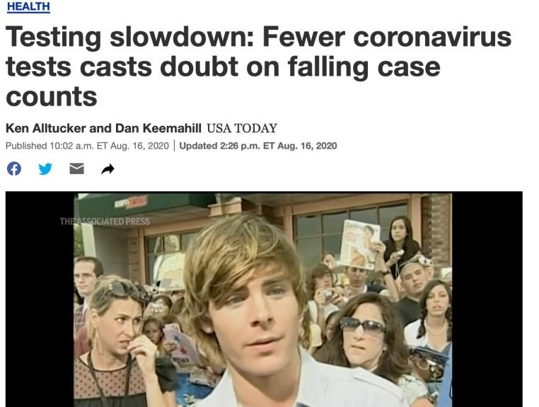 △《今日美国》称,美国新增病例数的减少可能与检测数量下降有关