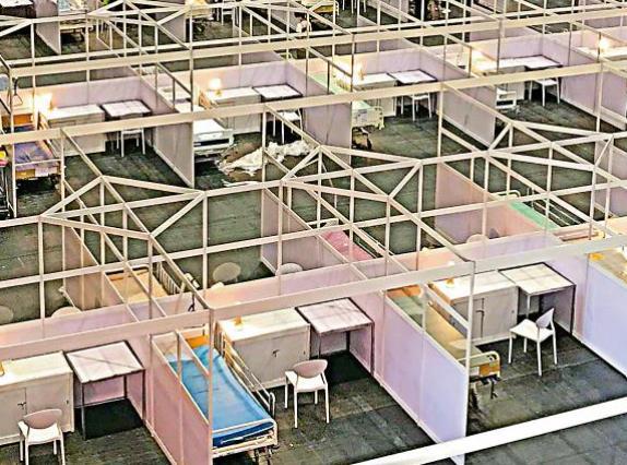 香港方舱医院(图源:《大公报》)