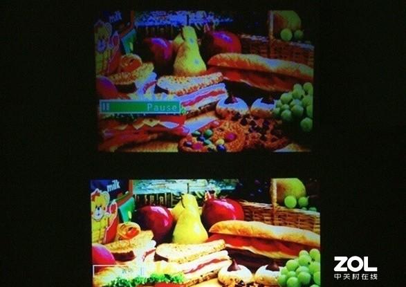 廉价投影(上)与品牌产品(下)画面实拍对比