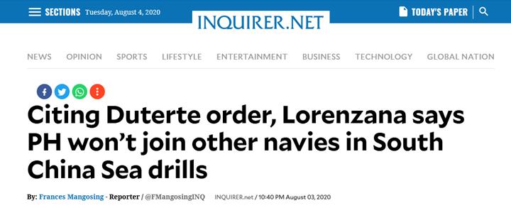菲律宾《每日问询者报》:洛伦扎纳援引杜特尔特命令称,菲律宾不会加入其它国家海军在南海的军演