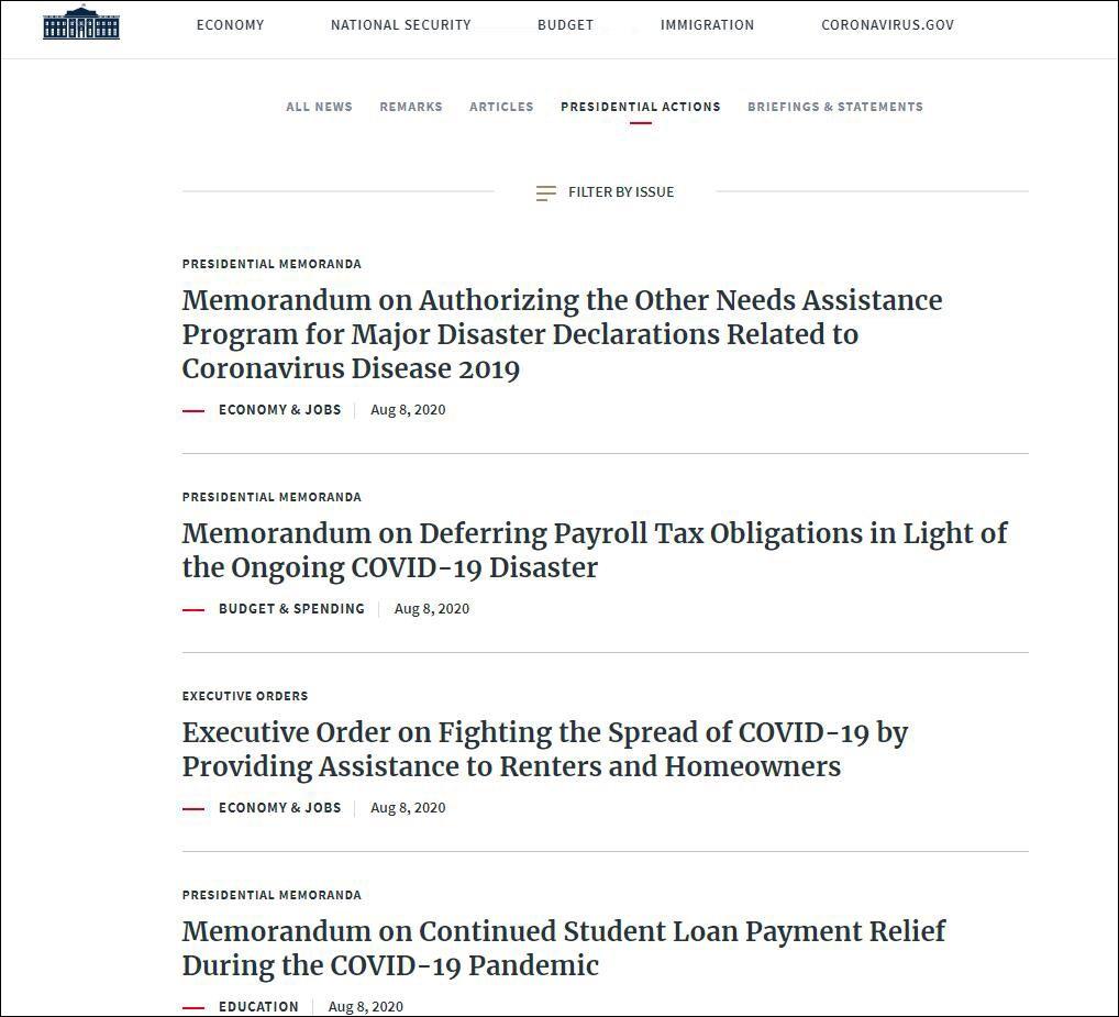 绕过国会特朗普一下签署4项纾困措施
