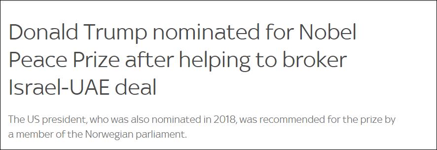 被提名诺贝尔和平奖后 特朗普高兴坏了