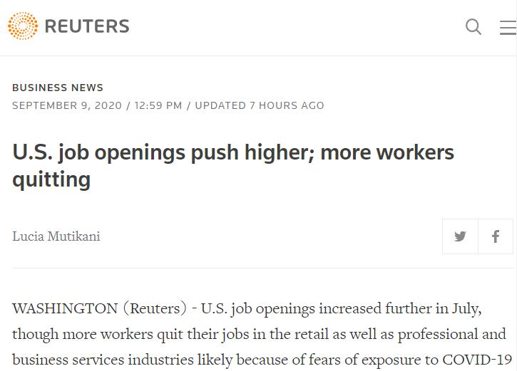 △路透社称,美国职位空缺增加,但有更多工人辞职