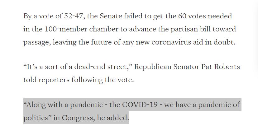 """△据路透社报道,参议员帕特·罗伯茨表示,""""在新冠疫情暴发的同时,国会也发生了一场政治疫情。"""""""