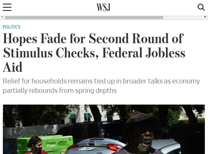 △《华尔街日报》称,美国出台新一轮经济刺激支票和联邦失业援助的希望渺茫