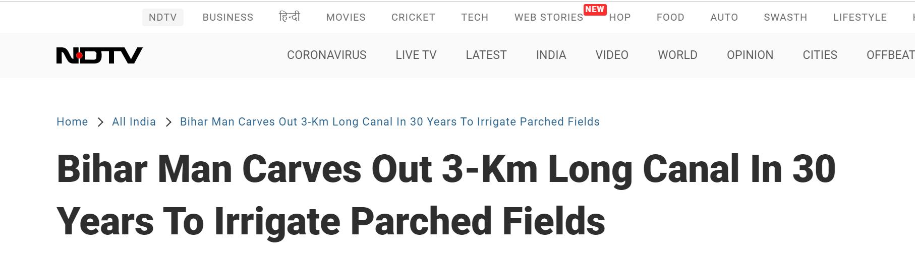 有点励志!印度男子挖长水渠花了30年