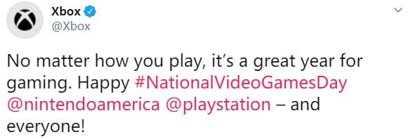 国家游戏日 Xbox发推喊话索尼、任天堂