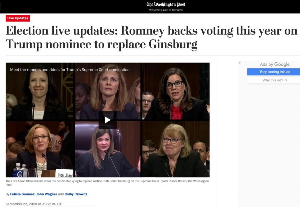 △《华盛顿邮报》报道,参议员罗姆尼在9月22日表示,他将支持特朗普对最高法院的提名人选并投票