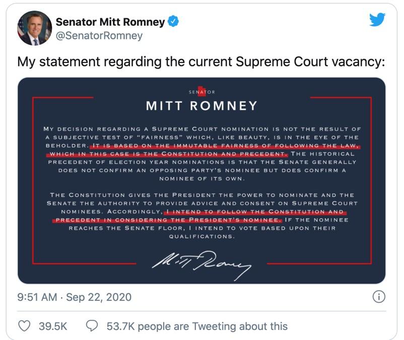 △罗姆尼在推特中发布了支持特朗普提名大法官候选人的声明