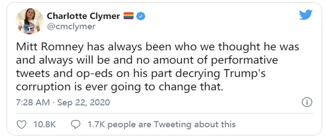 """△网友批评罗姆尼:""""罗姆尼一直都是我们想的那种人,和特朗普一样在推特上发表一些垃圾。"""""""