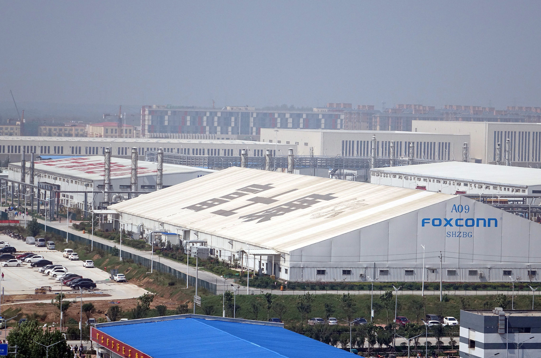 河南省郑州市航空港区的富士康保税区厂房| 视觉中国