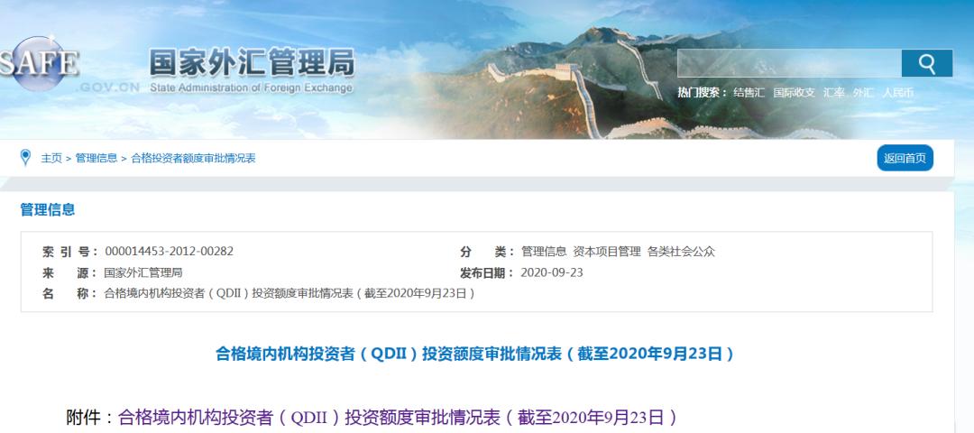 QDII额度又来了:一次放出30多亿美金 18家金融机构获配