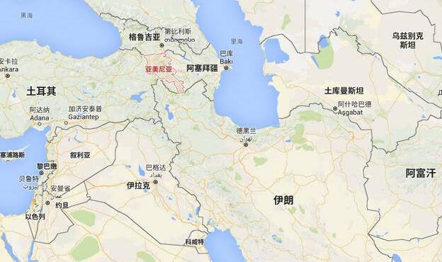 △图为亚美尼亚与叙利亚地图