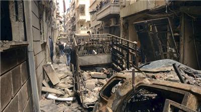 △图为叙利亚阿勒颇市的一处亚美尼亚族社区在冲突中被毁 图片来源:美联社