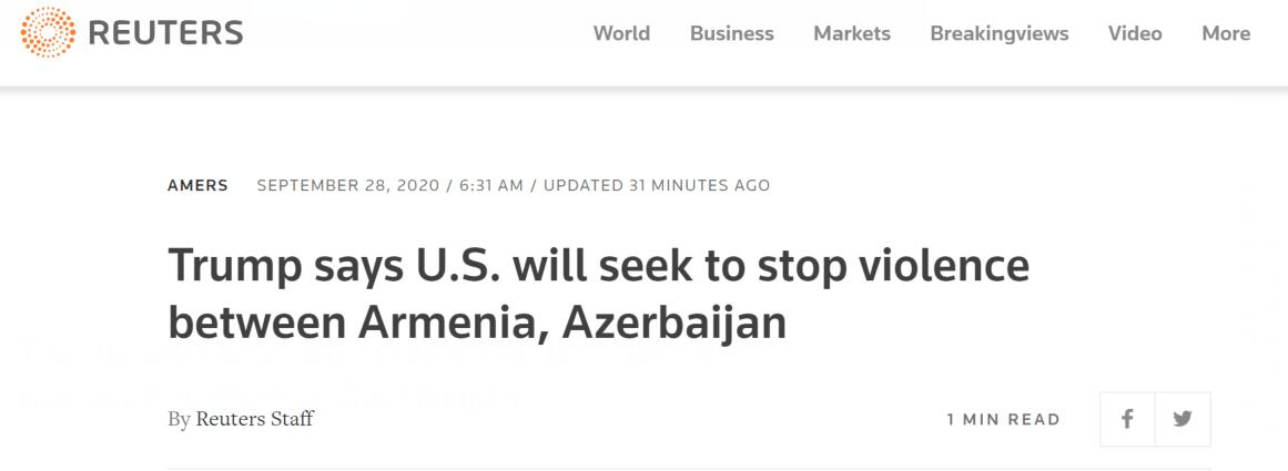 阿塞拜疆和亚美尼亚冲突致上百死伤 特朗普又来了