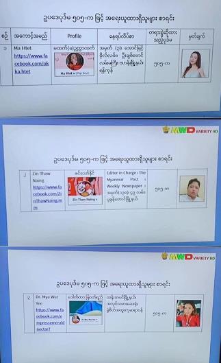 △缅甸警方对部分演艺人员的逮捕令
