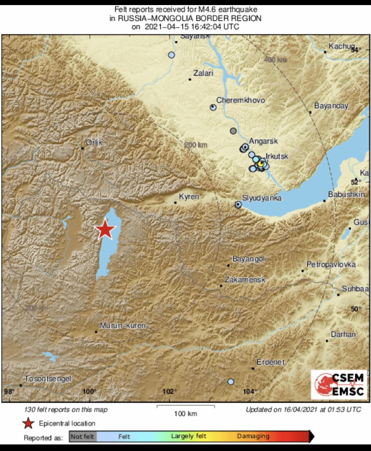 俄罗斯和蒙古国边境地区发生4.6级地震
