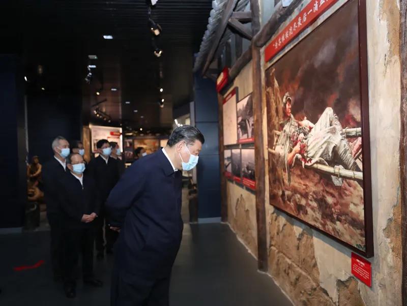 △2021年4月25日,正在广西考察的习近平总书记来到桂林市全州县,参观红军长征湘江战役纪念馆。