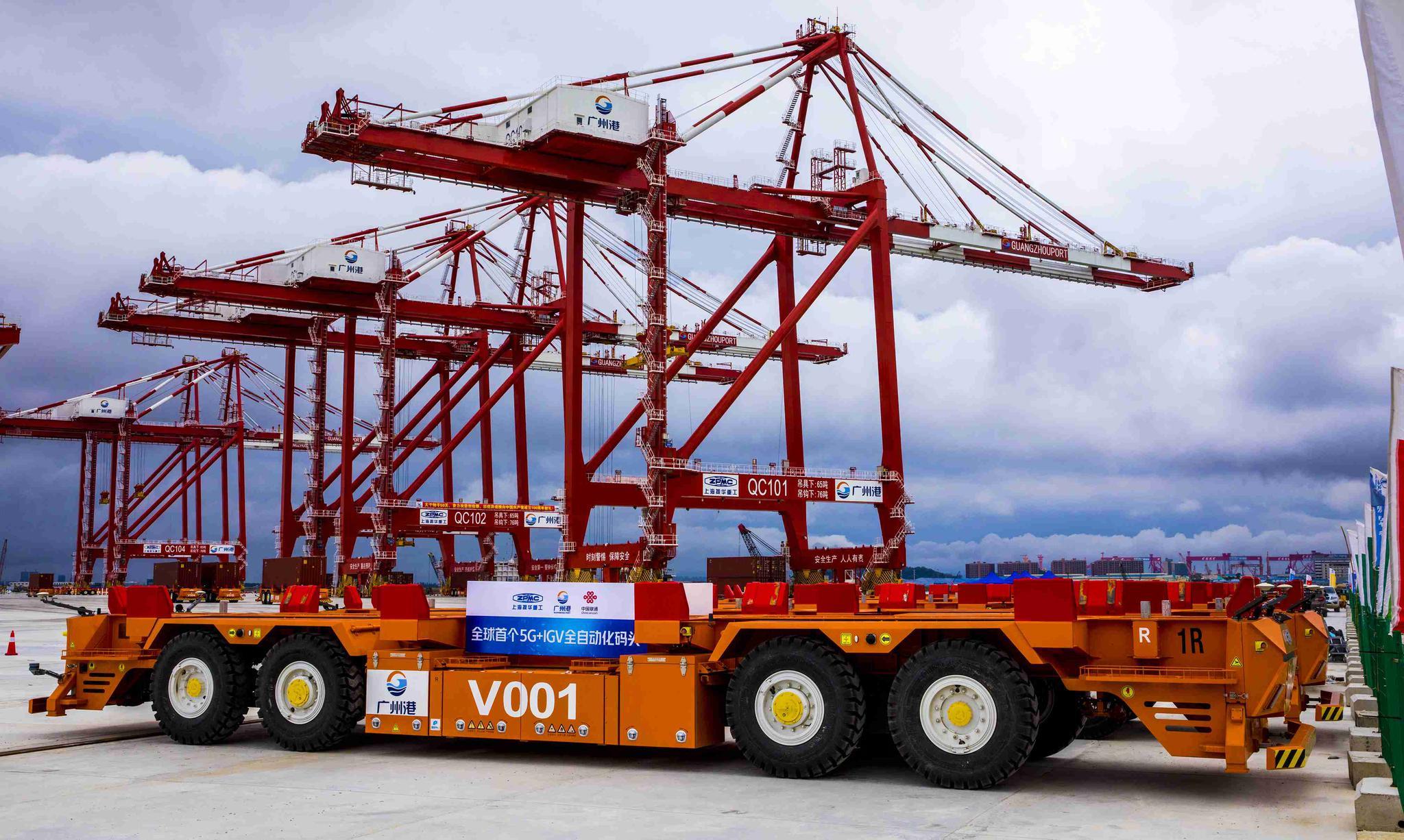 振华重工助力粤港澳大湾区首个全自动化码头全流程实船作业