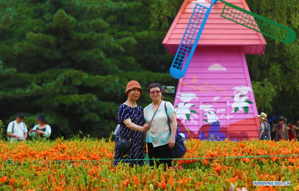 People take selfies beside lilies at Shenshuiwan Park in Shenyang, northeast China's Liaoning Province, July 6, 2021. (Xinhua/Yang Qing)
