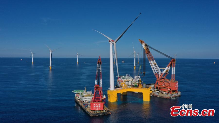 World's first typhoon-resistant floating wind turbine installed in Guangdong
