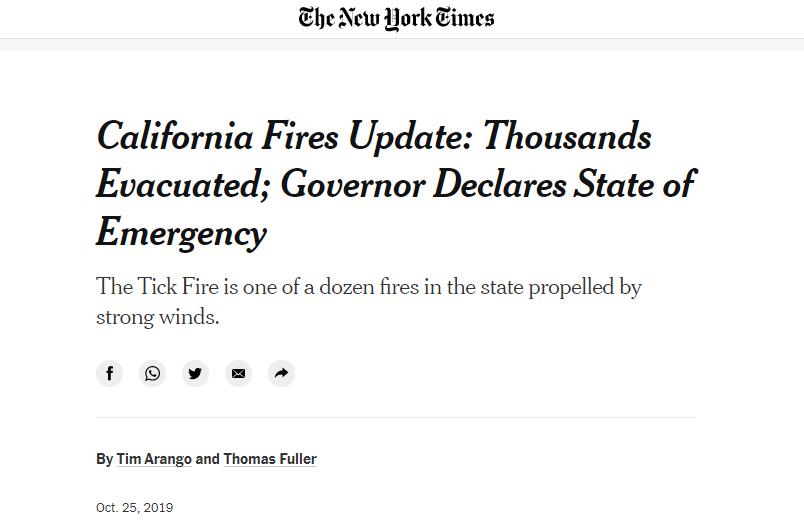 △ 《纽约时报》2019年报道《加州火灾数据:数千人撤离 州长宣布进入紧急状态》
