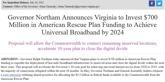 弗吉尼亚州投资7亿美元 到2024年将宽带扩大到州内每个人