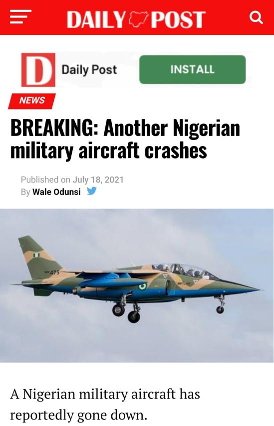 △《每日邮报》(Daily Post)网站坠机报道截图