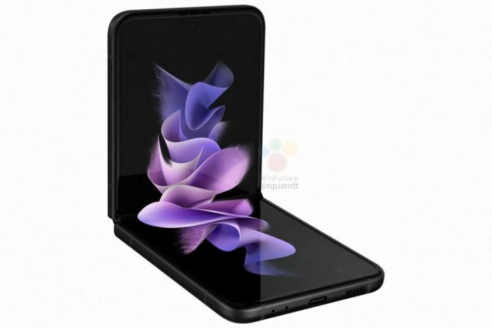 [图]三星Galaxy Z Flip 3高清渲染图:正面折叠全面屏 背面类似于Pixel