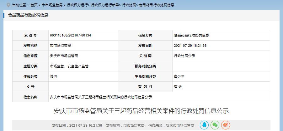 安徽省安庆市市场监管局公示三起药品经营相关案件的行政处罚信息