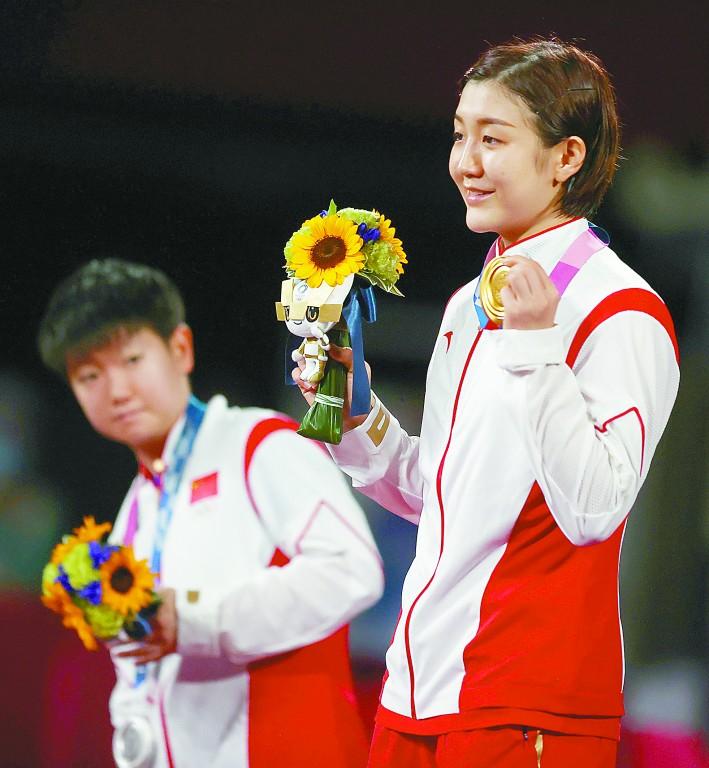 中国乒乓球队包揽东京奥运会男女单金银牌