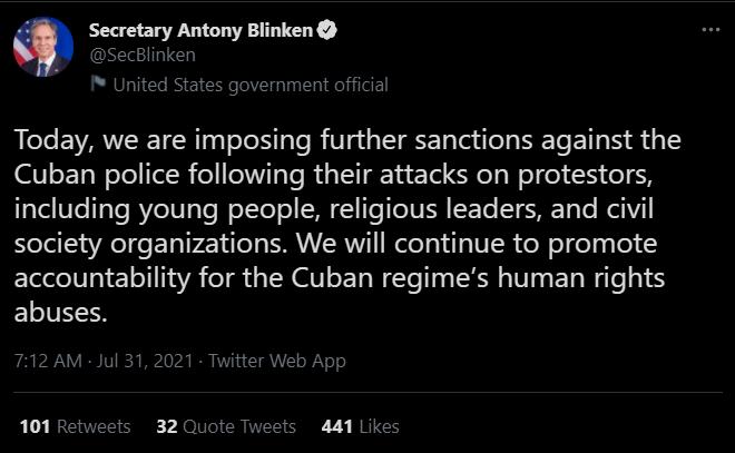 美国务卿推特宣布:对古巴警察将实施进一步制裁