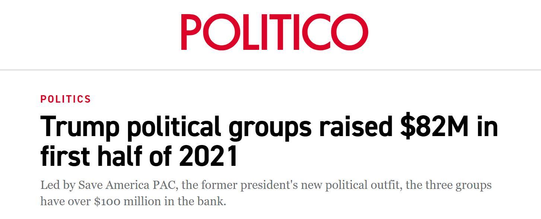 """美媒惊爆:特朗普的政治团体上半年已筹集8200万美元政治捐款,""""前所未有""""!"""