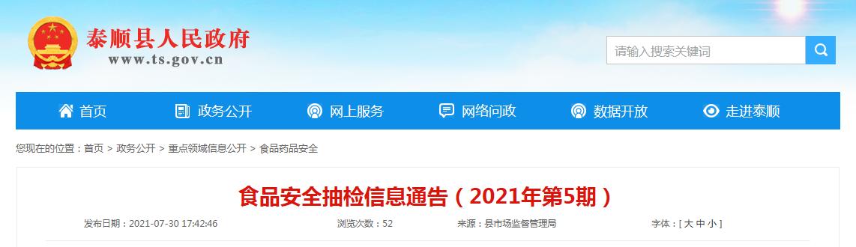 浙江省泰顺县市场监管局发布食品安全抽检信息(2021年第5期)