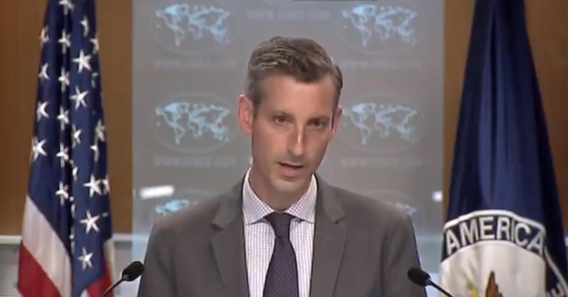 美国务院新闻发言人内德·普莱斯记者会视频截图