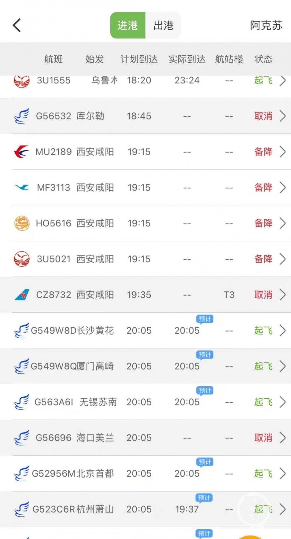 ▲事件发生后,阿克苏机场跑道短暂关闭,有航班备降其他机场。图片来源/航旅纵横