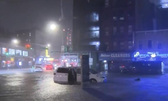 创纪录暴雨来袭  纽约市市长宣布进入紧急状态