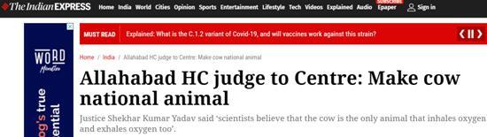 """印度地方法院法官提议莫迪政府:牛应成为""""国兽"""""""