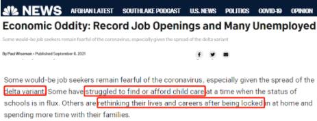 △NBC:失业者不就业的主要原因包括儿童保育服务短缺和成本增加、害怕感染或传播新冠病毒等。